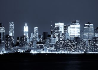 Panoramatický výhled na Manhattan Skyline v noci